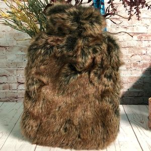 Hot Water Bottle Fur Lined Bag Insulated Rubber